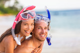 Snorkel beach summer happy couple holiday portrait. Travel vacation snorkelers smiling asian woman, caucasian man living a healthy lifestyle with diving mask at snorkeling tropical vacations. - 208795514