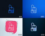 Glitch, Neon effect. Tea bag line icon. Brew hot drink sign. Breakfast beverage symbol. Trendy flat geometric designs. Vector - 208795543