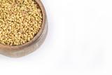 Alfalfa seeds in wooden bowl - Medicago sativa - 208795563