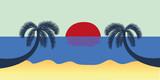 zwei palmen am strand bei sonnenuntergang - 208795704