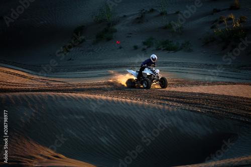 Man Riding 4x4 On Sand Dunes