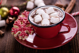 hot chocolate with marshmallow merry christmas background