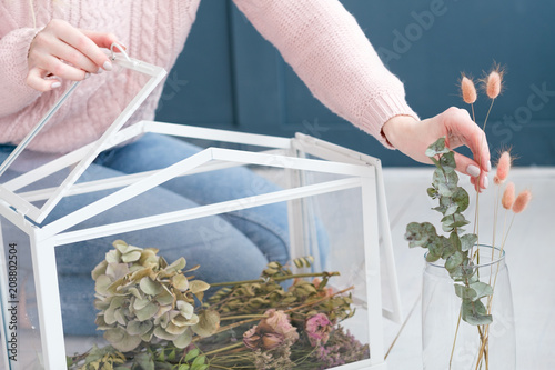 Foto Murales decor design and creative floral arrangement concept. dried flowers herbs and twigs in a glass box. free space on blue background