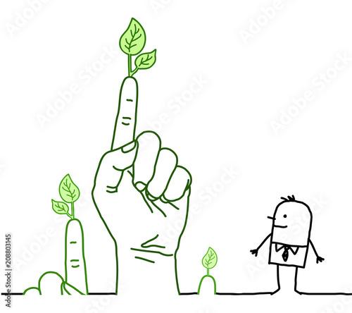 Duże zielone ręce z postaci z kreskówek - komunikacja
