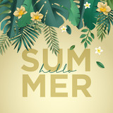 Hello summer vector illustration for background, mobile and social media banner, summertime card, party invitation template. Lettering summer concept with natural elements. - 208810104