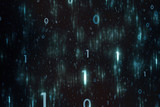 Abstract blue colored scattered binary numbers illustration background. - 208811162