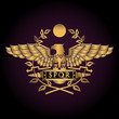 Golden symbol of a Roman eagle vector illustration.