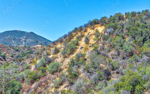 Aluminium Beige Dry summer hiking area in Southern California mountains on extremely hot day