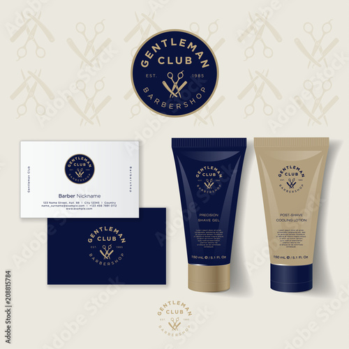 Gentleman club barber shop logo. Scissors and a razor with letters emblem. Barber Shop logo and identity. Men's cosmetics logo emblem. Corporate style, business card, tube cream mock up.