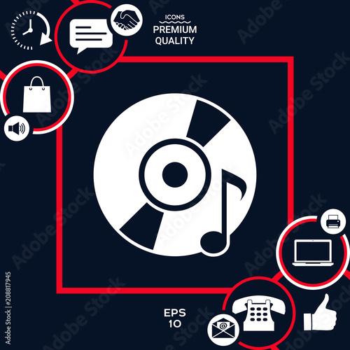 Fotobehang Muziek CD, DVD with music symbol