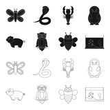An unrealistic black,outline animal icons in set collection for design. Toy animals vector symbol stock web illustration.
