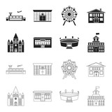 House of government, stadium, cafe, church.Building set collection icons in black,outline style vector symbol stock illustration web. - 208820900
