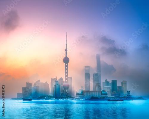 Fotobehang Shanghai Sunrise view of Shanghai skyline with sunshine