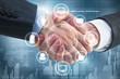Leinwanddruck Bild - Handshake with business interface