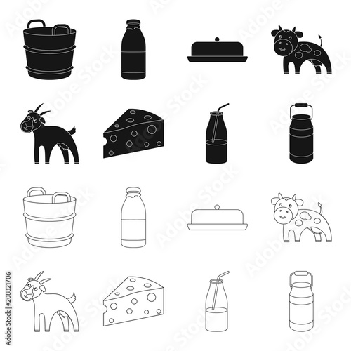Goat, a piece of cheese and other products. Milk set collection icons in black,outline style vector symbol stock illustration web.