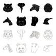 Panda, giraffe, hippopotamus, penguin, Realistic animals set collection icons in black,outline style vector symbol stock illustration web.