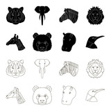Panda, giraffe, hippopotamus, penguin, Realistic animals set collection icons in black,outline style vector symbol stock illustration web.