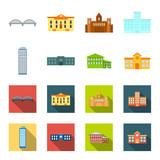 Skyscraper, police, hotel, school.Building set collection icons in cartoon,flat style vector symbol stock illustration web. - 208822566