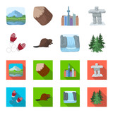 Canadian fir, beaver and other symbols of Canada.Canada set collection icons in cartoon,flat style vector symbol stock illustration web.