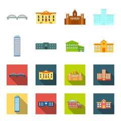Skyscraper, police, hotel, school.Building set collection icons in cartoon,flat style vector symbol stock illustration web. © pandavector