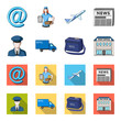 The postman in uniform, mail machine, bag for correspondence, postal office.Mail and postman set collection icons in cartoon,flat style vector symbol stock illustration web.