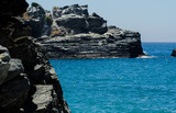 Amazing sea with blue summer wave and rocks, relaxing view of rocks and water - 208827197