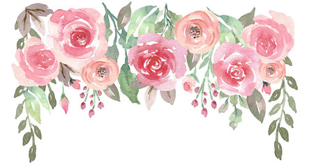 Loose Watercolor Floral Drop with Roses © aves