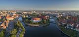 Widok z lotu ptaka na Wyspę Słodową, rzekę oraz zachodnią część miasta - Wrocław, Polska - 208834387