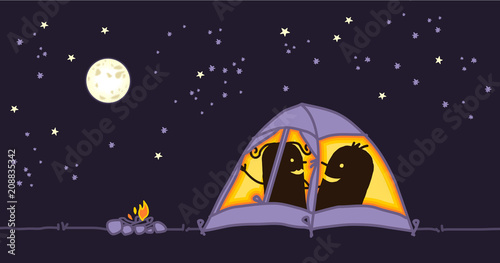 Cartoon couple in a camping tent by night