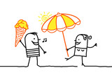 Cartoon couple and summer time - 208835735