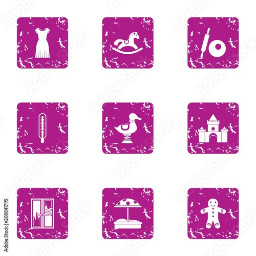 Preschool icons set. Grunge set of 9 preschool vector icons for web isolated on white background