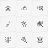 Japan line icon set with sword , japanese warrior helmet and ninja darts