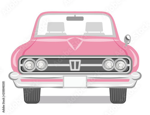 Fotobehang Auto Pink color convertible - Front view