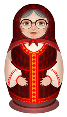 Grandmother in national clothes russian wooden doll matryoshka