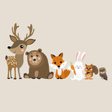 Cute deer, bear, fox, rabbit, squirrel and owl cartoon, Wildlife animal character. - 208853306