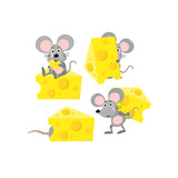cute mouse and cheese vector set - 208853923