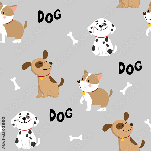 obraz PCV cute dog seamless pattern