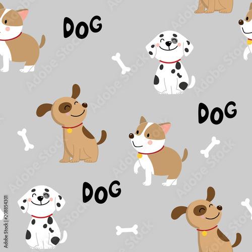 fototapeta na ścianę cute dog seamless pattern