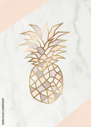 Geometric rose gold Pineapple shape with marble background texture design for packaging, wedding card and cover template.  - 208854507