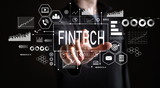 Fintech with businessman on a black background  - 208856379