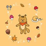 Cartoon cute squirrel and Autumn vector. - 208856793