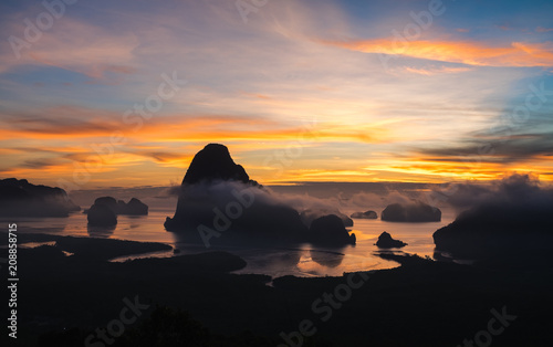 Panorama view of sea and mountain in sun rise morning golden hour time,Nature scene,Khao Samed Nang Chee Viewpoint,Phang Nga,Thailand.