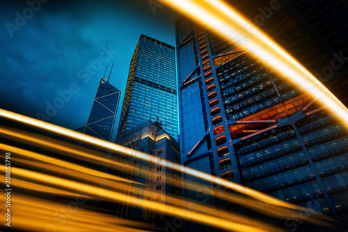 double exposure with traffic light and Modern office building  - 208863798