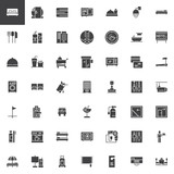 Hotel vector icons set, modern solid symbol collection, filled style pictogram pack. Signs, logo illustration. Set includes icons as Double Bed Room, Mini bar, Room Service, Customer, Bell Reception - 208864369