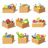Boxes with kid toys vector icons
