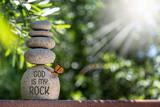 Zen Stacked Rocks Jesus is my Rock God is my Rock - 208867584