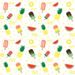 Colorful tropical summer fruit and popsicle ice cream seamless pattern - 208874159