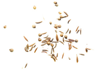 Sesame seeds with bread on white background