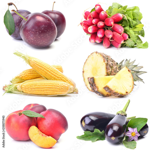 Fruits and vegetables on a white background - 208875940