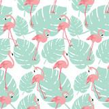Summer pattern background with pink Flamingo birds